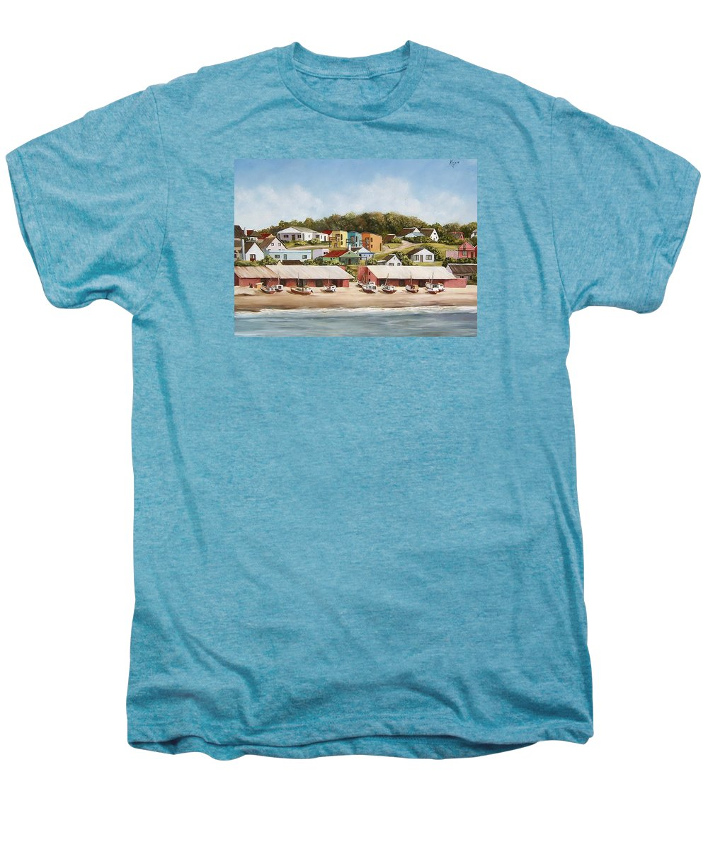 Landscape Seascape Uruguay Sea Seaside Boats Men's Premium T-Shirt featuring the painting Punta Del Diablo 2 by Natalia Tejera