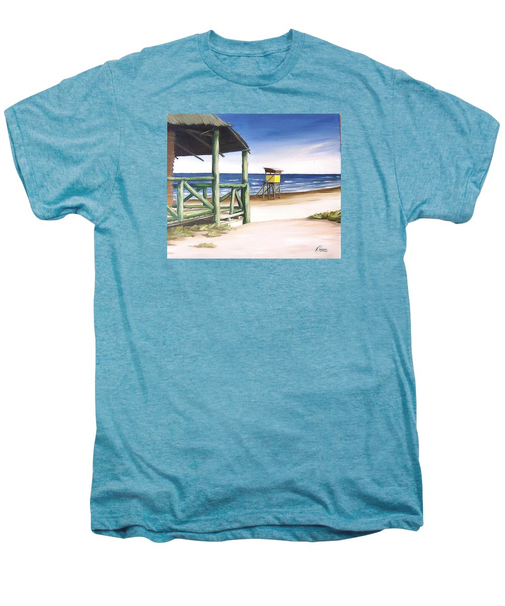 Seascape Beach Landscape Water Ocean Men's Premium T-Shirt featuring the painting Punta Del Diablo S Morning by Natalia Tejera