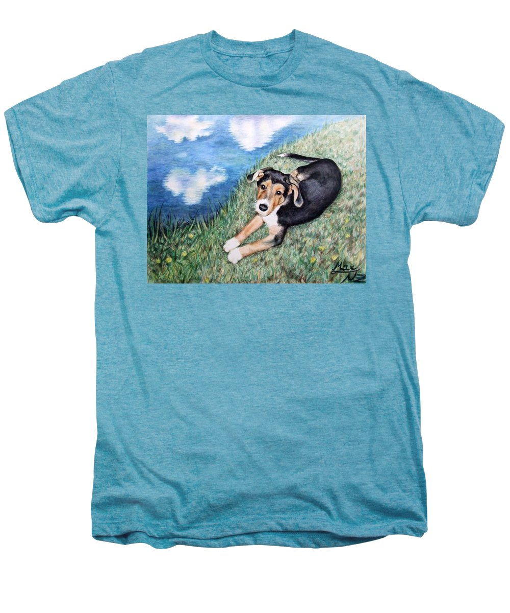 Dog Men's Premium T-Shirt featuring the painting Puppy Max by Nicole Zeug