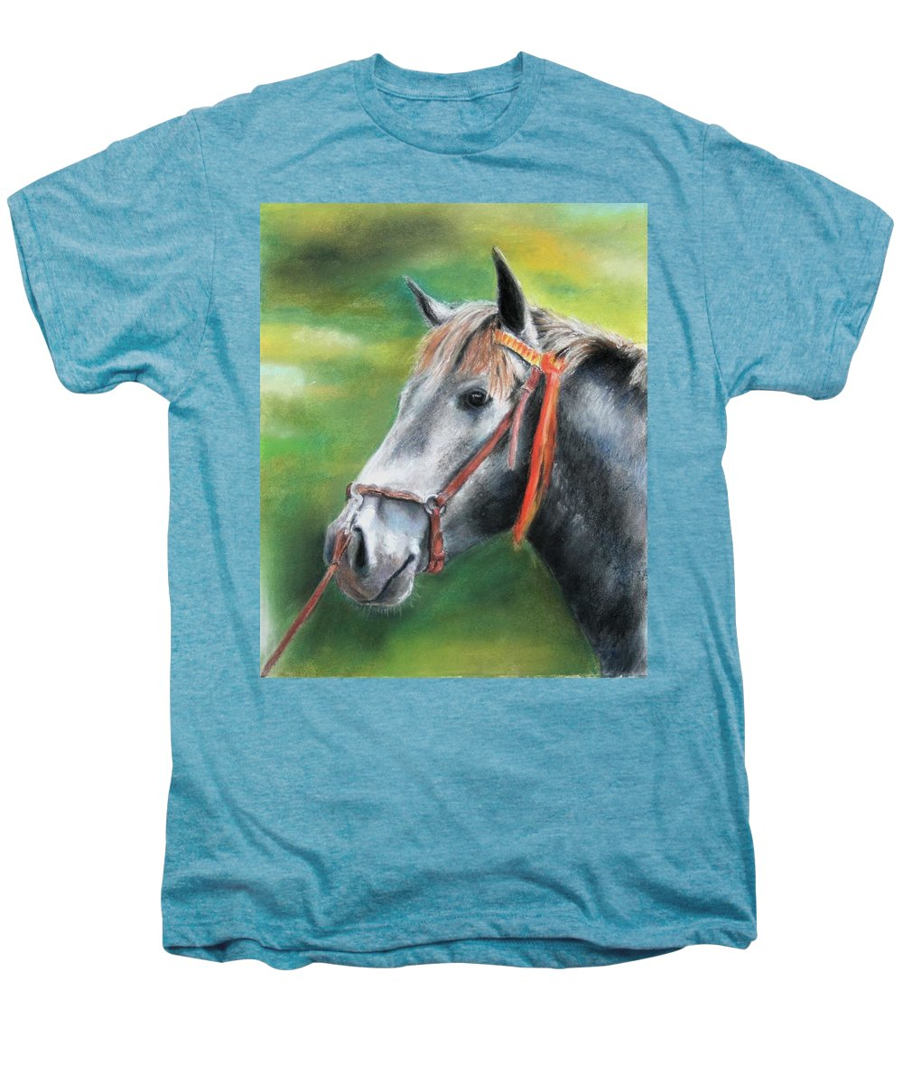 Horse Men's Premium T-Shirt featuring the painting Pure Spanish by Ceci Watson