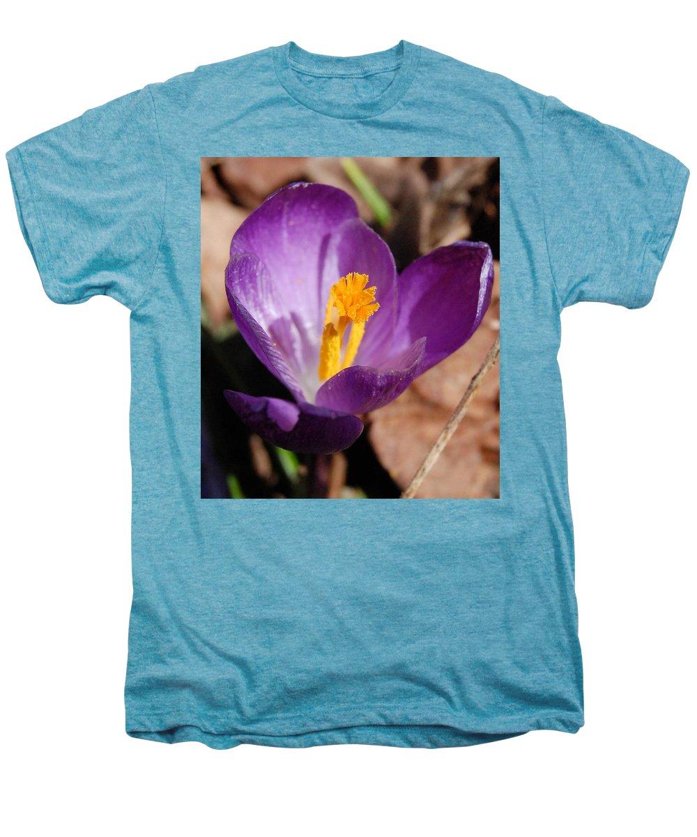 Digital Photography Men's Premium T-Shirt featuring the photograph Purple Crocus by David Lane