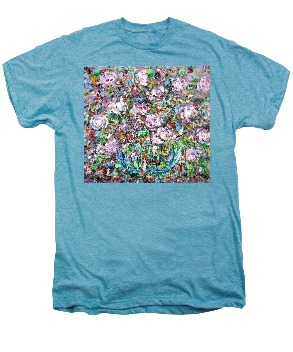 Abstract Men's Premium T-Shirt featuring the painting Purple Passions by Natalie Holland