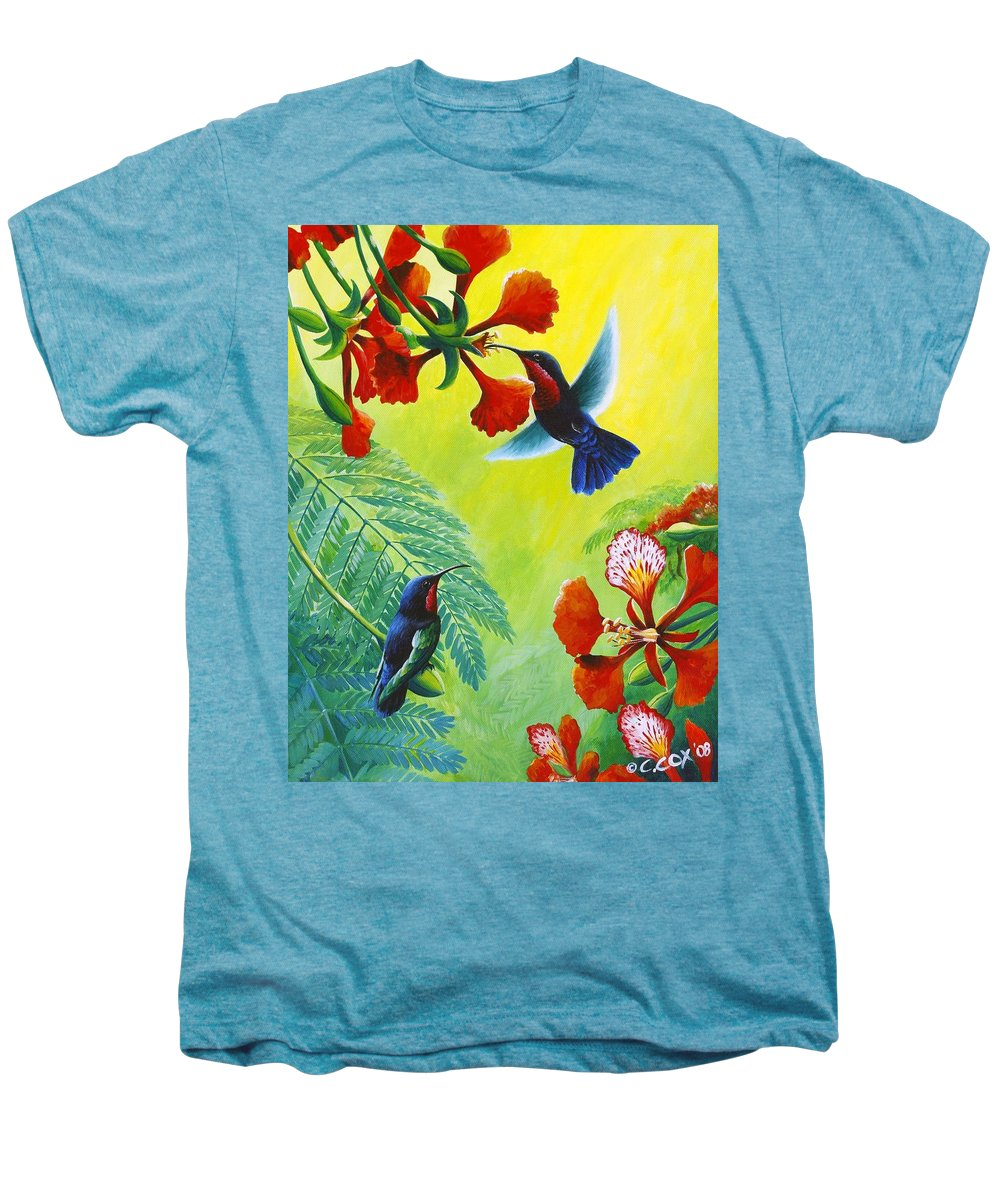 Chris Cox Men's Premium T-Shirt featuring the painting Purple-throated Caribs And Flamboyant by Christopher Cox