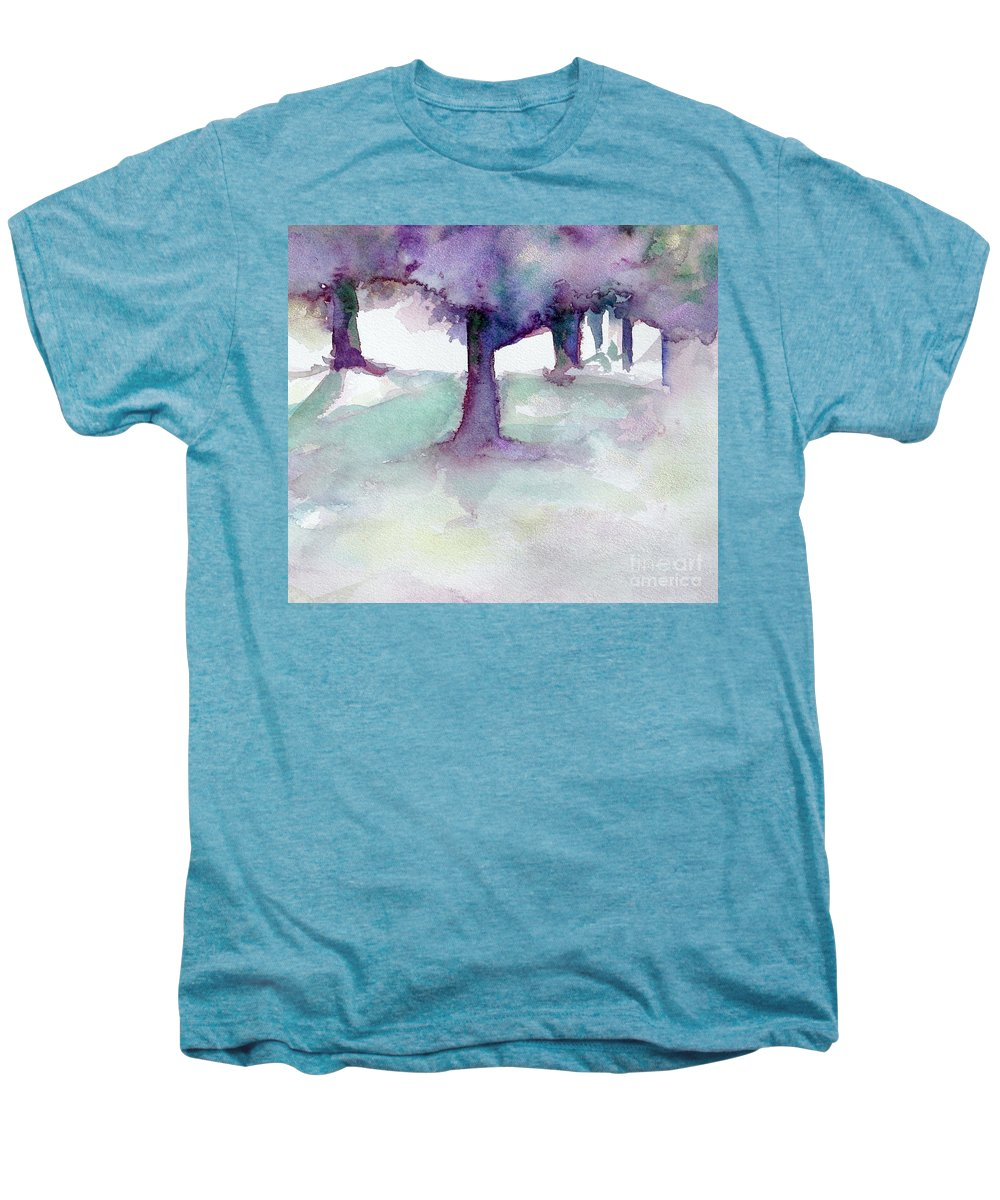 Landscape Men's Premium T-Shirt featuring the painting Purplescape II by Jan Bennicoff