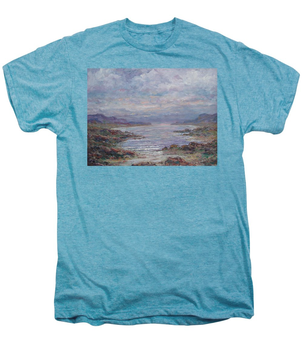 Painting Men's Premium T-Shirt featuring the painting Quiet Bay. by Leonard Holland