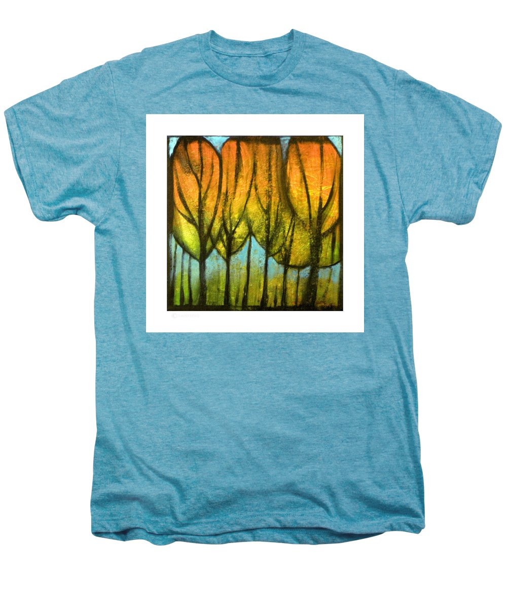 Trees Men's Premium T-Shirt featuring the painting Quiet Blaze by Tim Nyberg