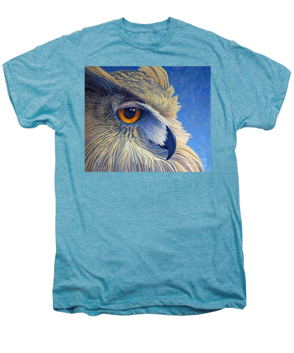 Owl Men's Premium T-Shirt featuring the painting Quiet Joy by Brian Commerford