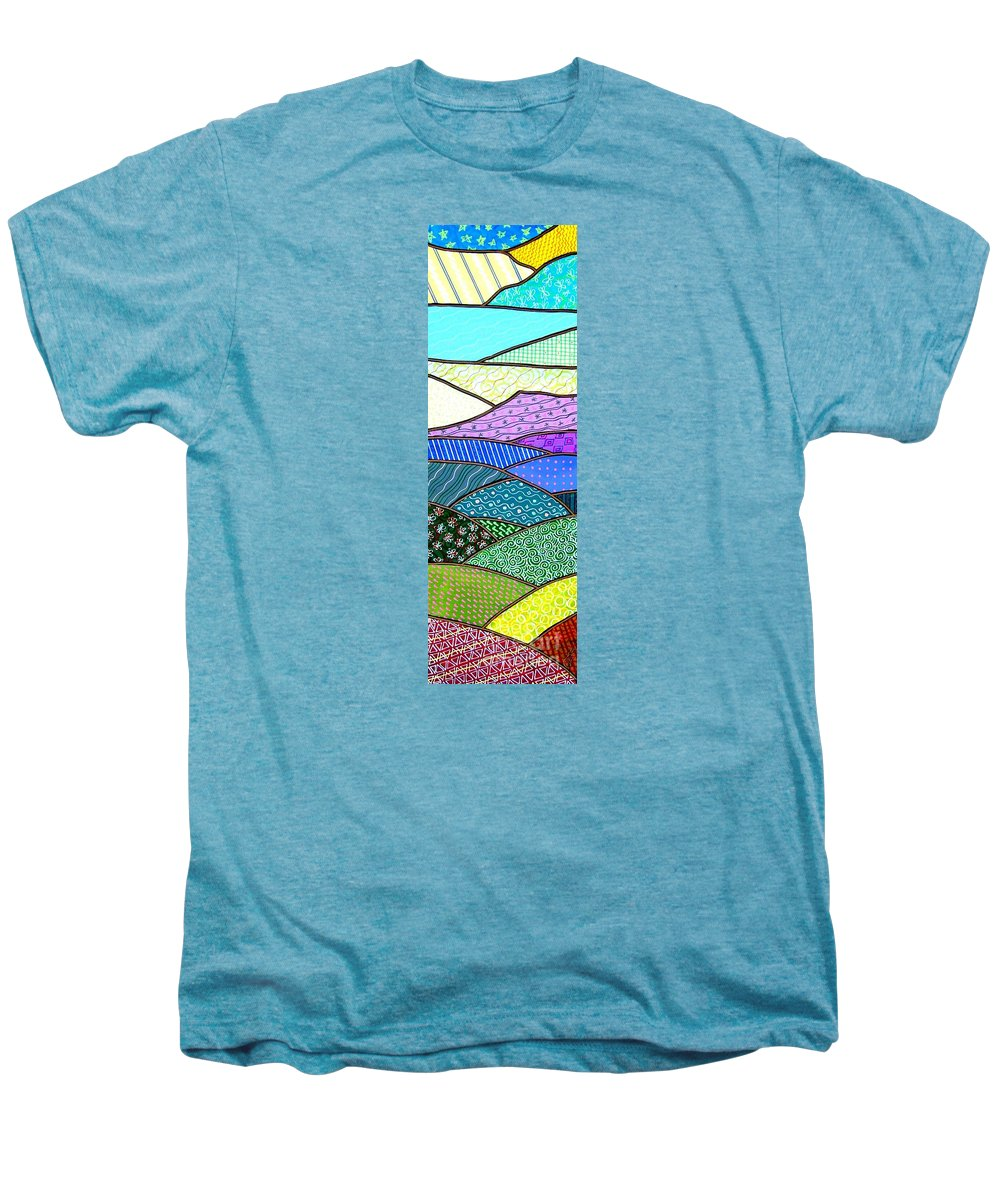 Mountain Men's Premium T-Shirt featuring the painting Quilted Mountain by Jim Harris