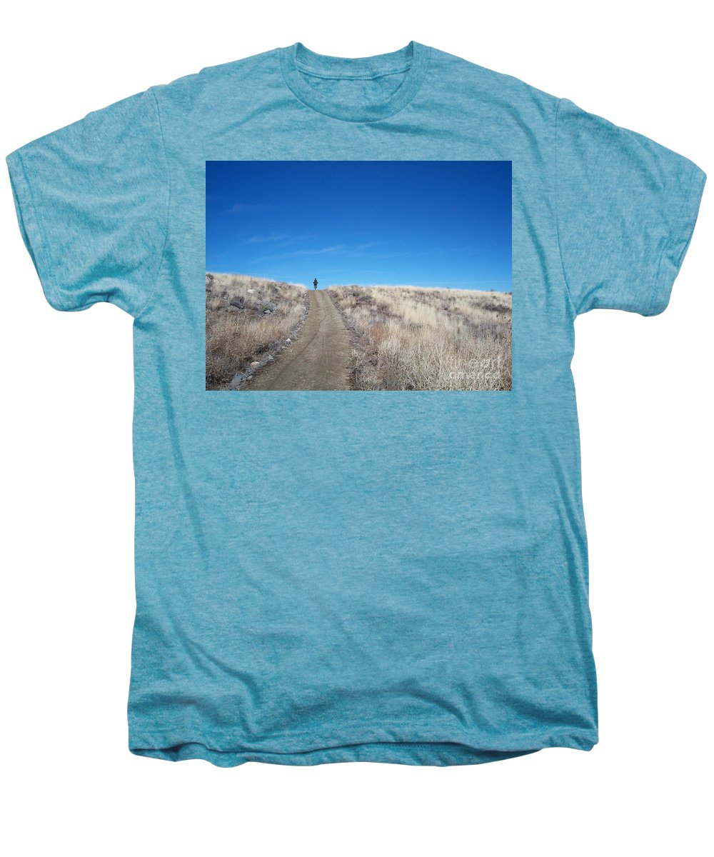 Racing Bike Men's Premium T-Shirt featuring the photograph Racing Over The Horizon by Heather Kirk