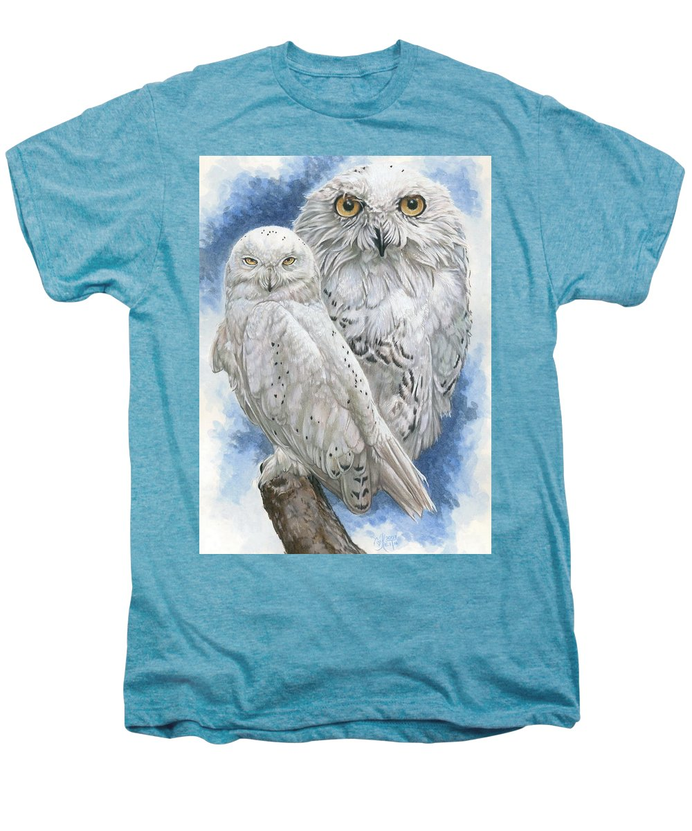 Snowy Owl Men's Premium T-Shirt featuring the mixed media Radiant by Barbara Keith