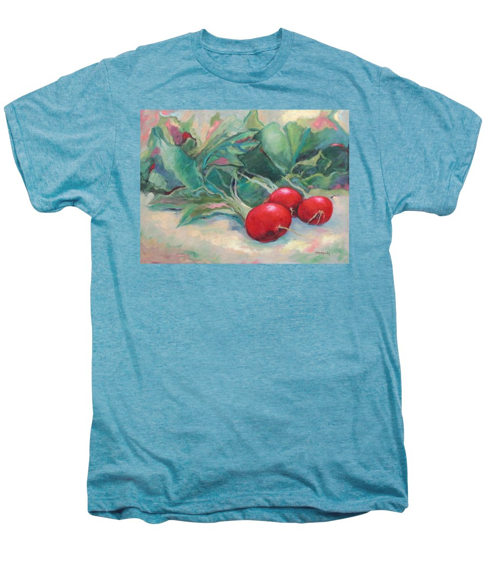 Radishes Men's Premium T-Shirt featuring the painting Radishes by Ginger Concepcion