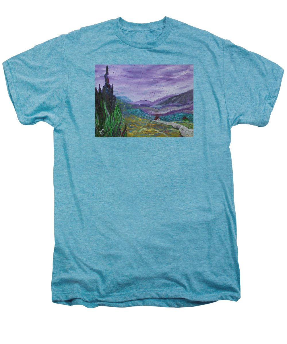 Rain Men's Premium T-Shirt featuring the painting Rain by David McGhee