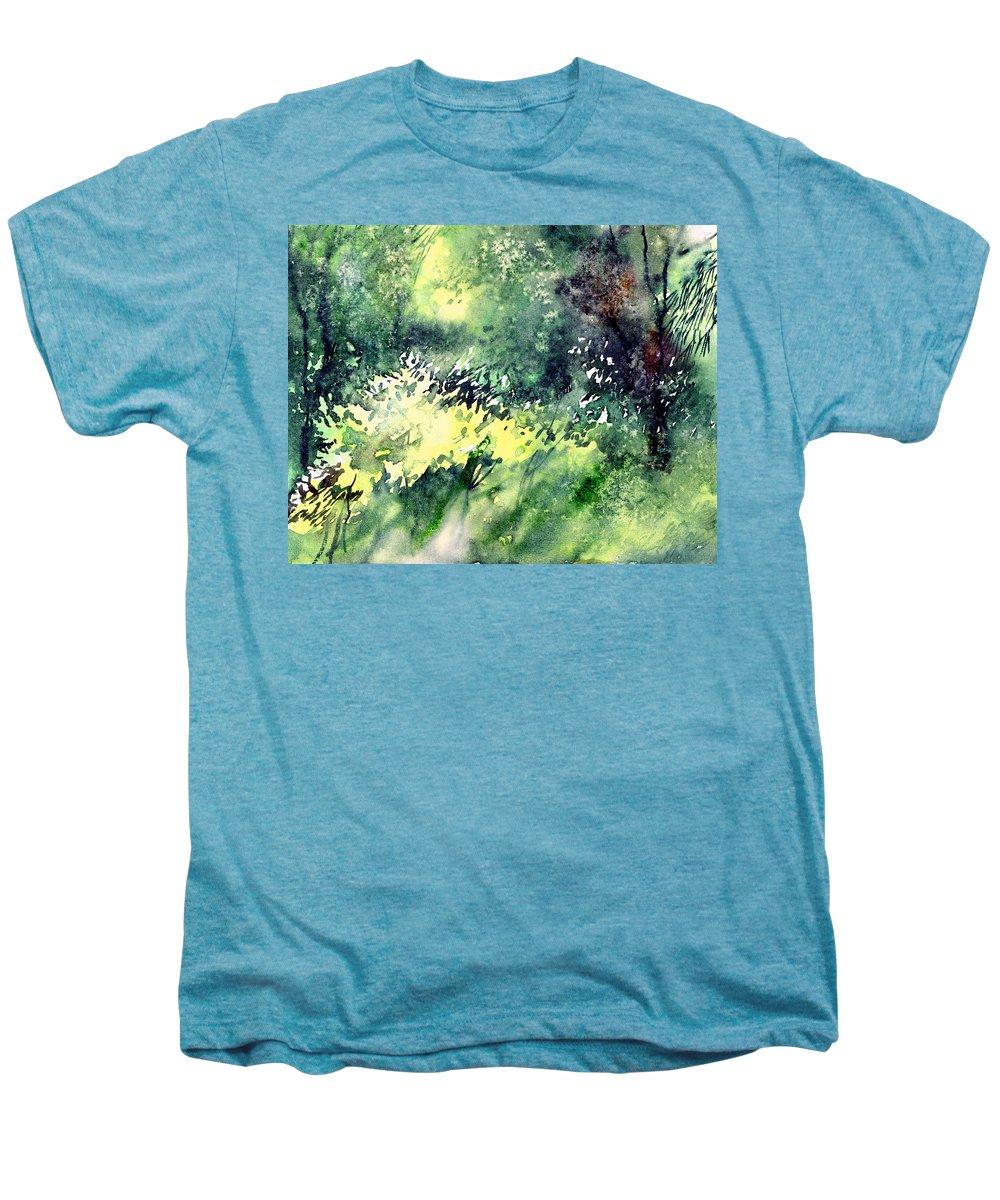 Landscape Watercolor Nature Greenery Rain Men's Premium T-Shirt featuring the painting Rain Gloss by Anil Nene