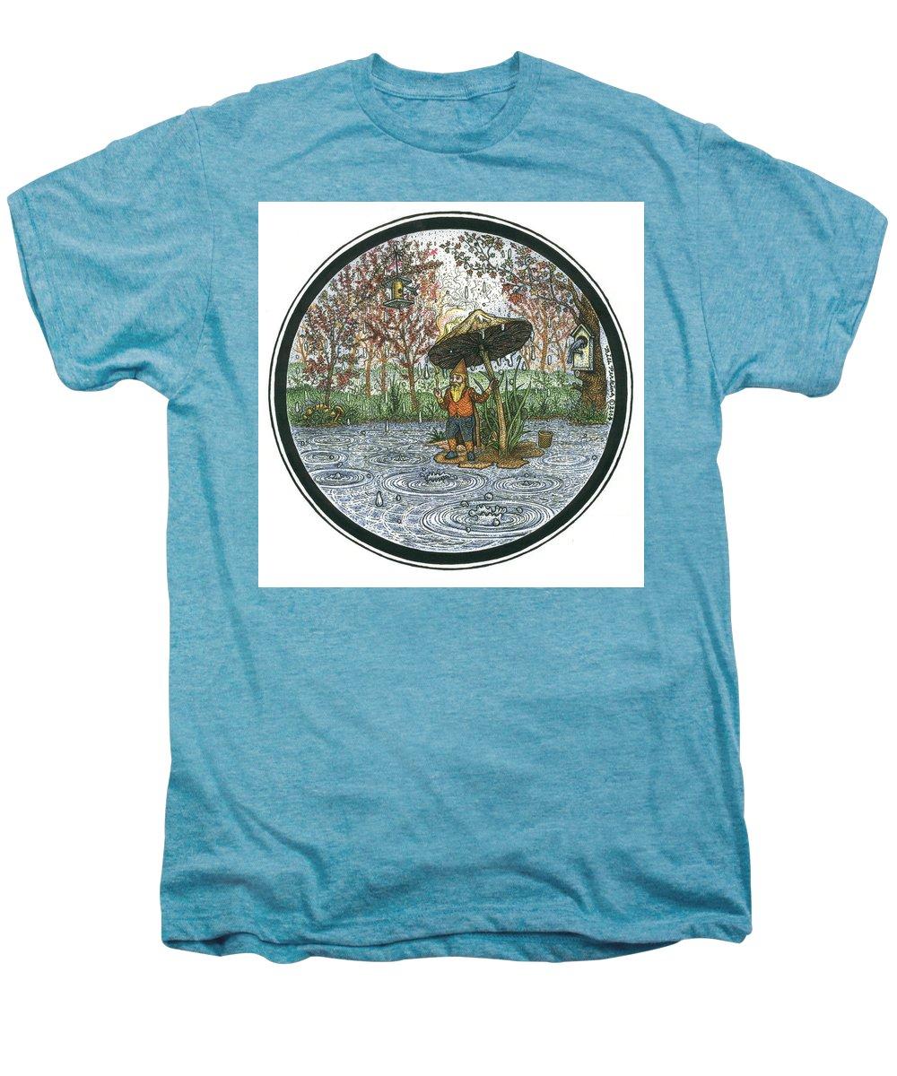 Rain Men's Premium T-Shirt featuring the drawing Rain Gnome Rain Circle by Bill Perkins