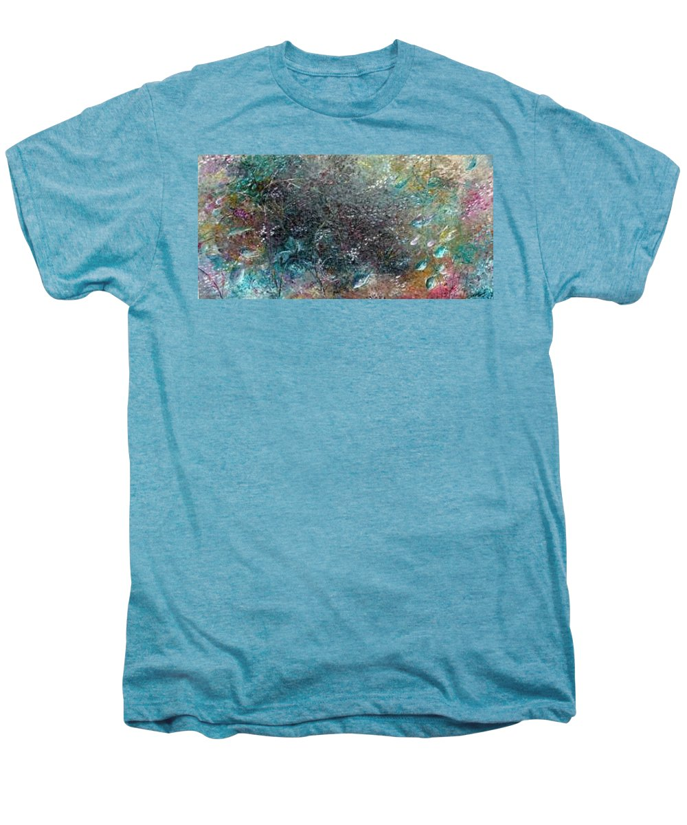 Original Abstract Painting Of Under The Sea Men's Premium T-Shirt featuring the painting Rainbow Reef by Karin Dawn Kelshall- Best