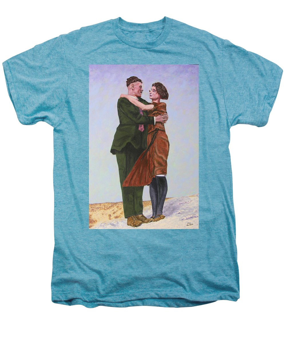 Double Portrait Men's Premium T-Shirt featuring the painting Ray And Isabel by Stan Hamilton