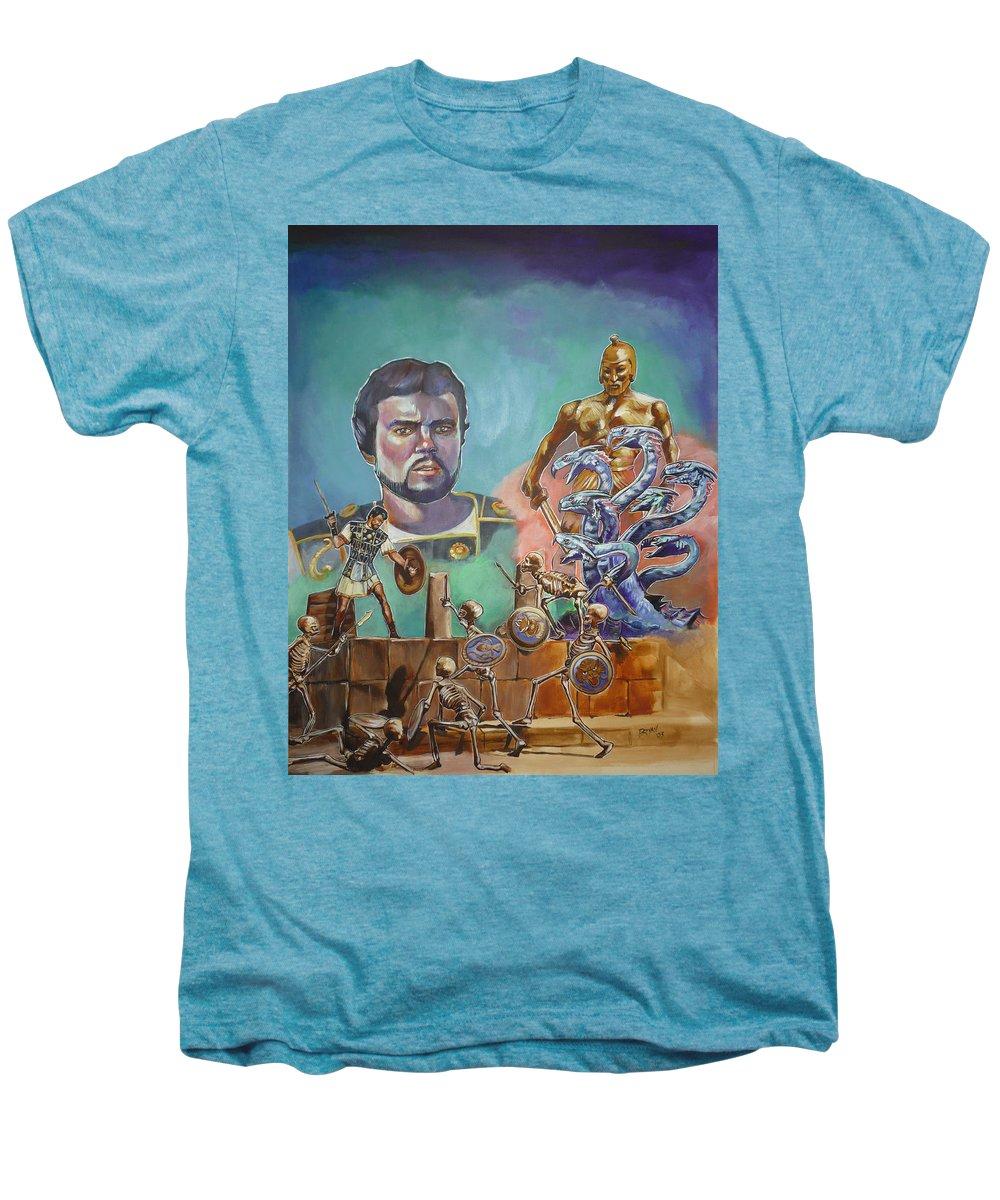 Jason Argonauts Hydra Talos Skeletons Movie Harryhausen Fantasy Sci-fi Men's Premium T-Shirt featuring the painting Ray Harryhausen Tribute Jason And The Argonauts by Bryan Bustard