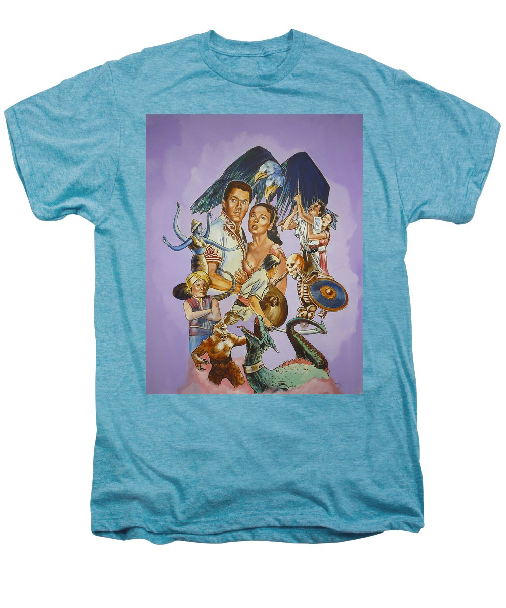 Movie Men's Premium T-Shirt featuring the painting Ray Harryhausen Tribute Seventh Voyage Of Sinbad by Bryan Bustard