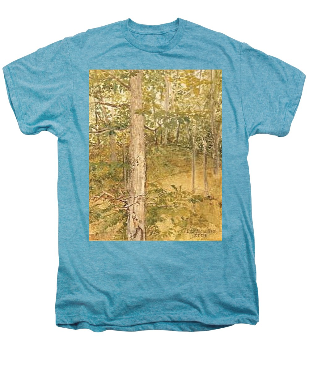 Trees Men's Premium T-Shirt featuring the painting Raystown Lake by Leah Tomaino