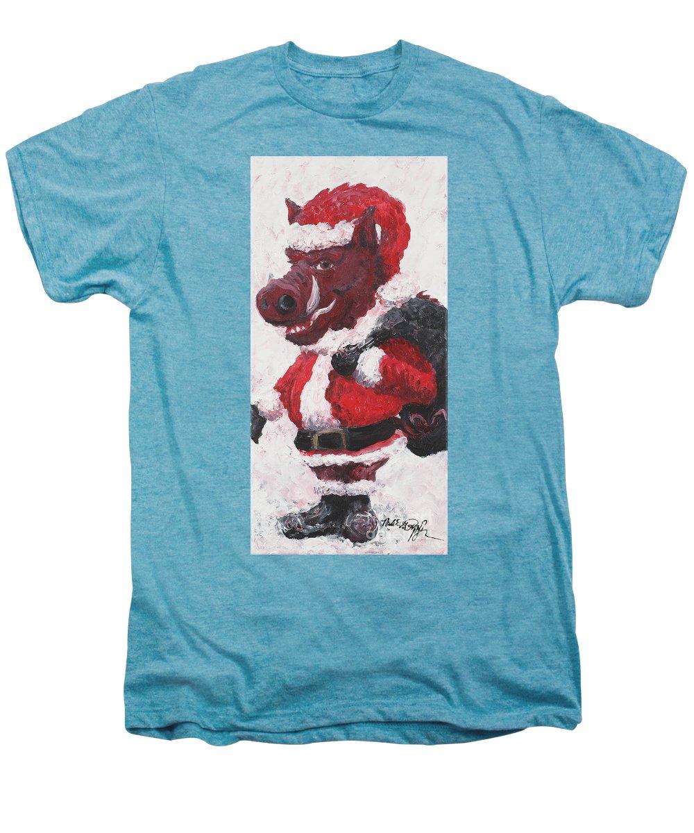Santa Men's Premium T-Shirt featuring the painting Razorback Santa by Nadine Rippelmeyer
