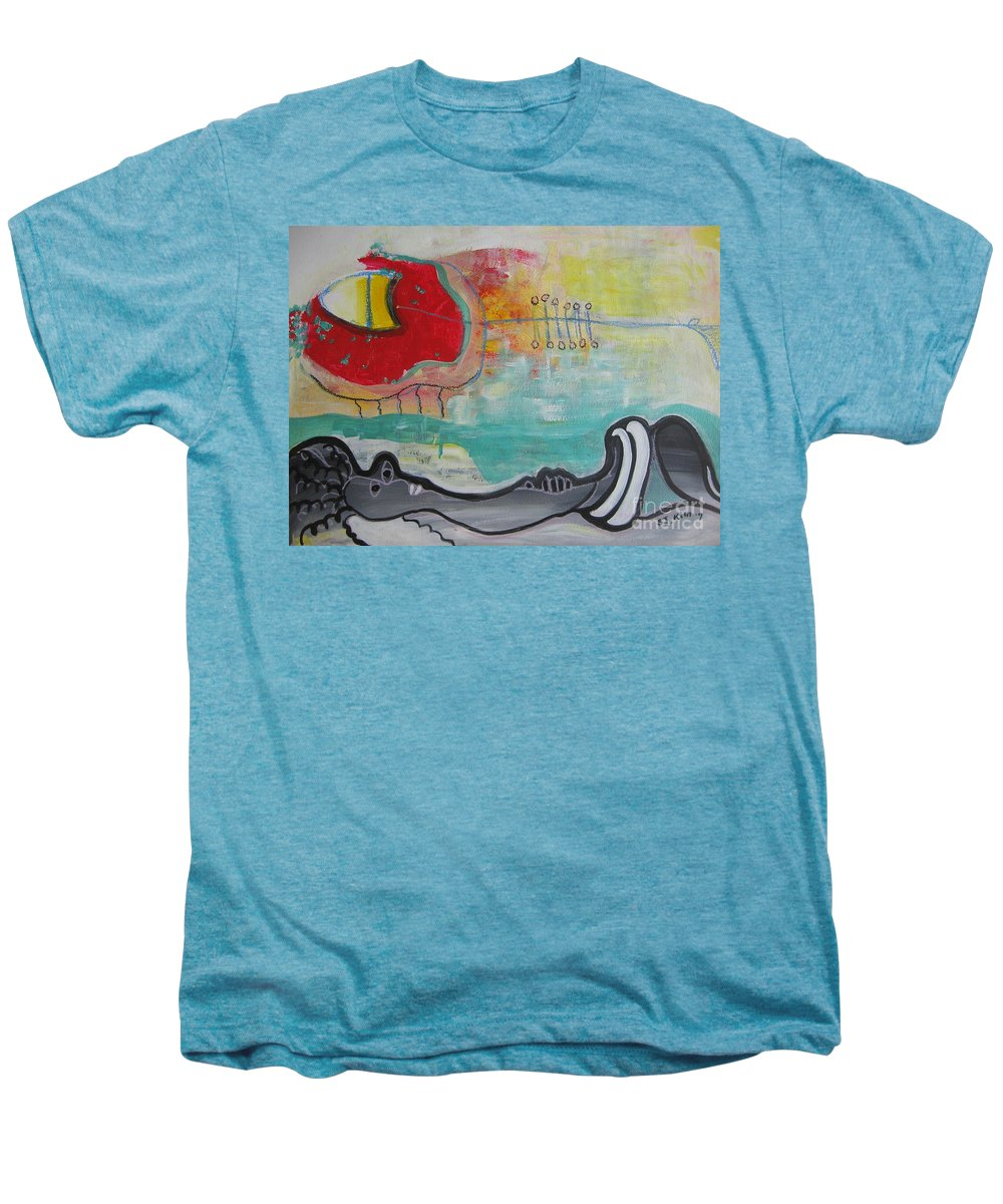 Red Paintings Men's Premium T-Shirt featuring the painting Read My Mind1 by Seon-Jeong Kim