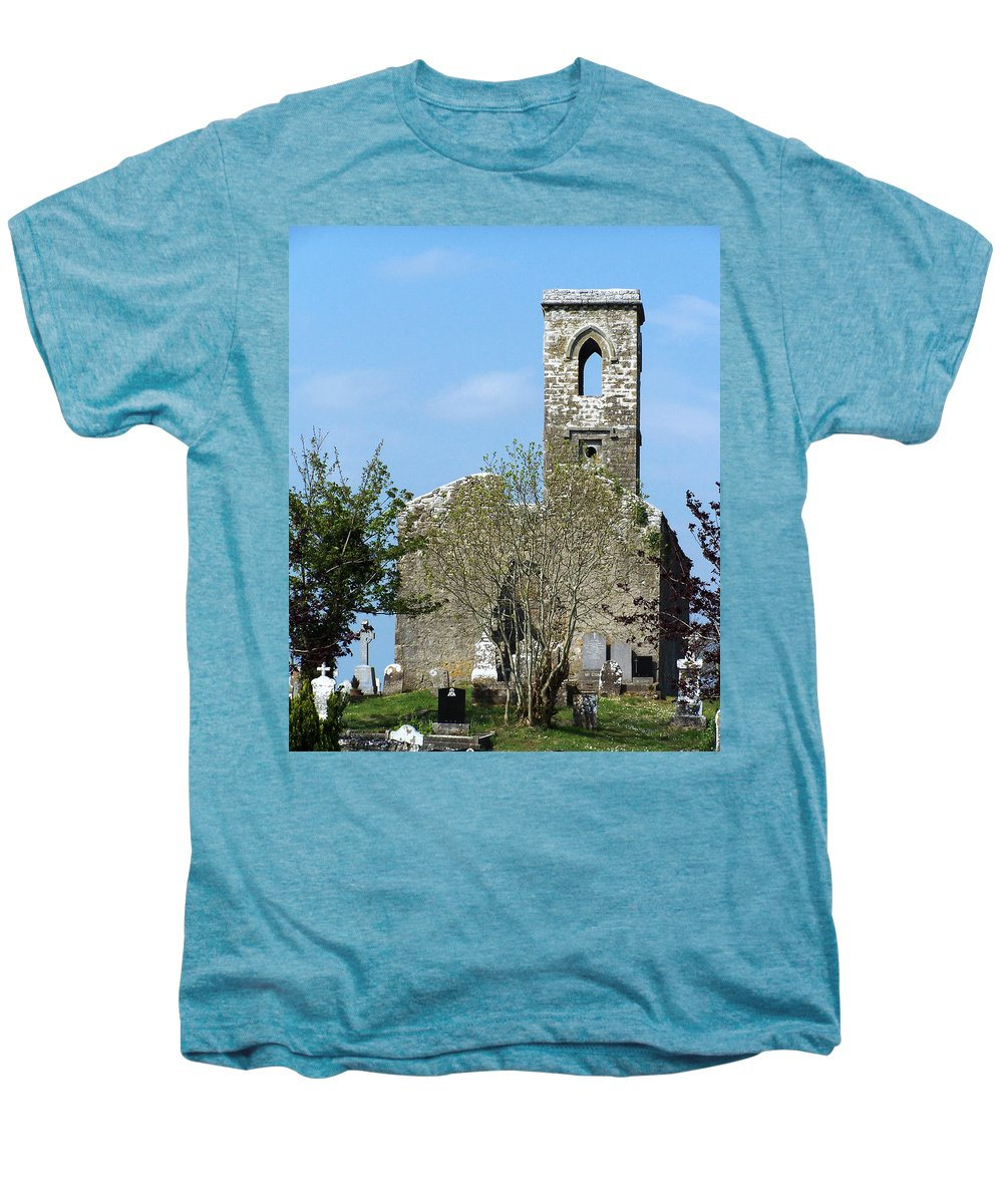 Fuerty Men's Premium T-Shirt featuring the photograph Rear View Fuerty Church And Cemetery Roscommon Ireland by Teresa Mucha