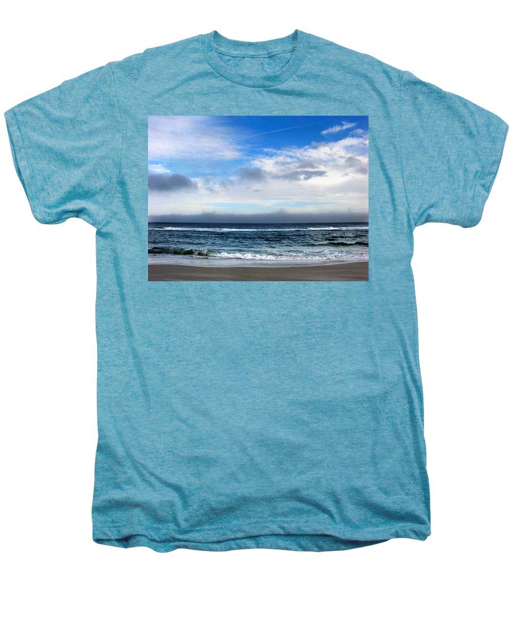 Seascape Men's Premium T-Shirt featuring the photograph Receding Fog Seascape by Steve Karol