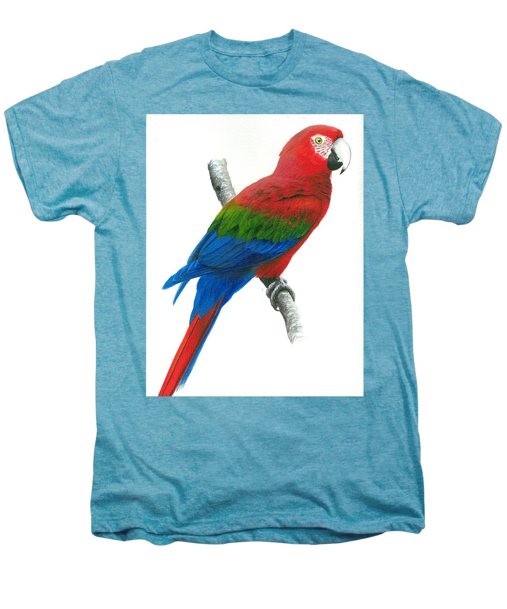 Chris Cox Men's Premium T-Shirt featuring the painting Red And Green Macaw by Christopher Cox