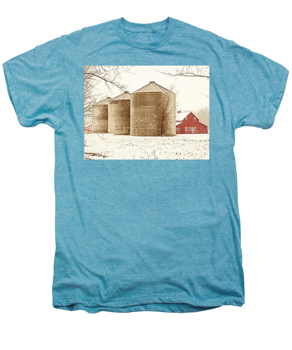 Americana Men's Premium T-Shirt featuring the photograph Red Barn In Snow by Marilyn Hunt