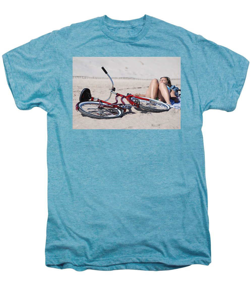 Red Men's Premium T-Shirt featuring the photograph Red Bike On The Beach by Rob Hans