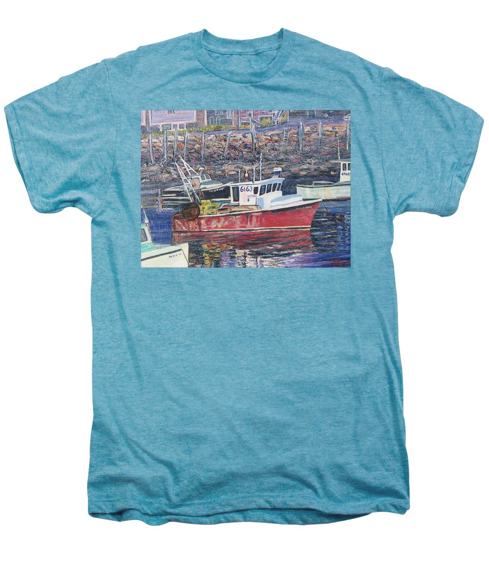 Boat Men's Premium T-Shirt featuring the painting Red Boat Reflections by Richard Nowak