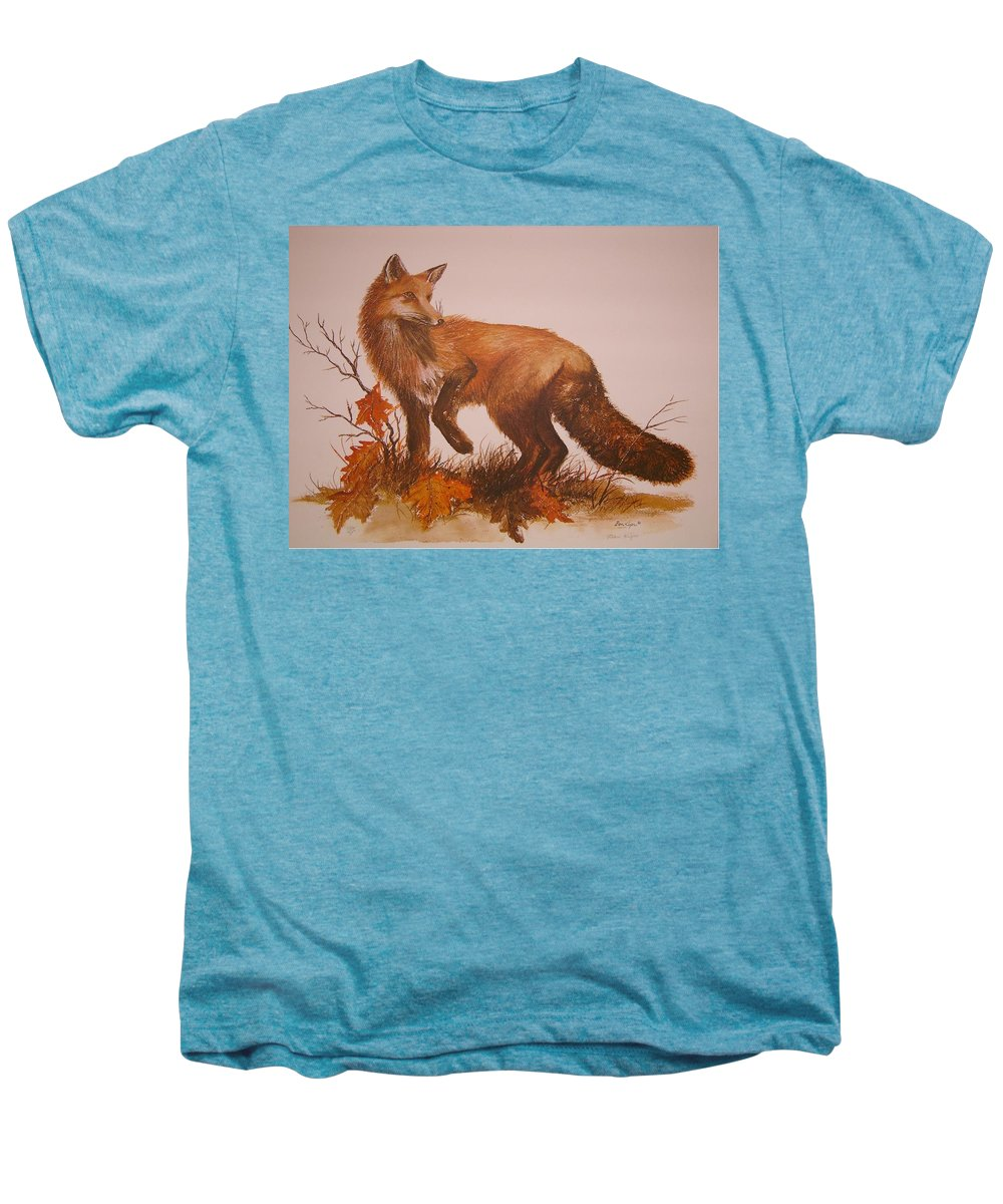 Nature Men's Premium T-Shirt featuring the painting Red Fox by Ben Kiger