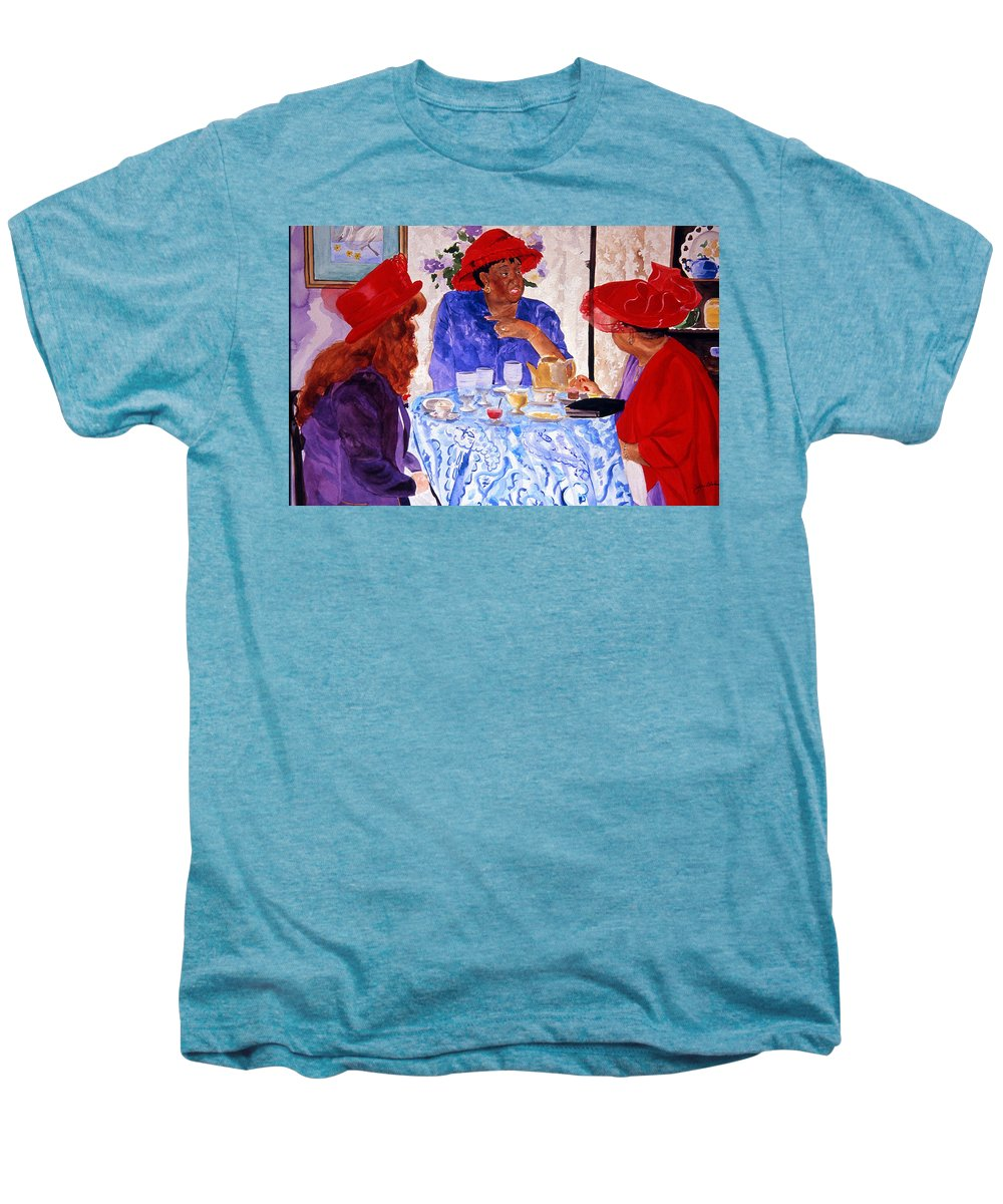 Red Hat Men's Premium T-Shirt featuring the painting Red Hatters Chatter by Jean Blackmer