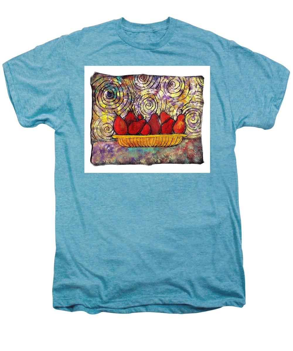 Spirals Men's Premium T-Shirt featuring the painting Red Pears In A Bowl by Wayne Potrafka