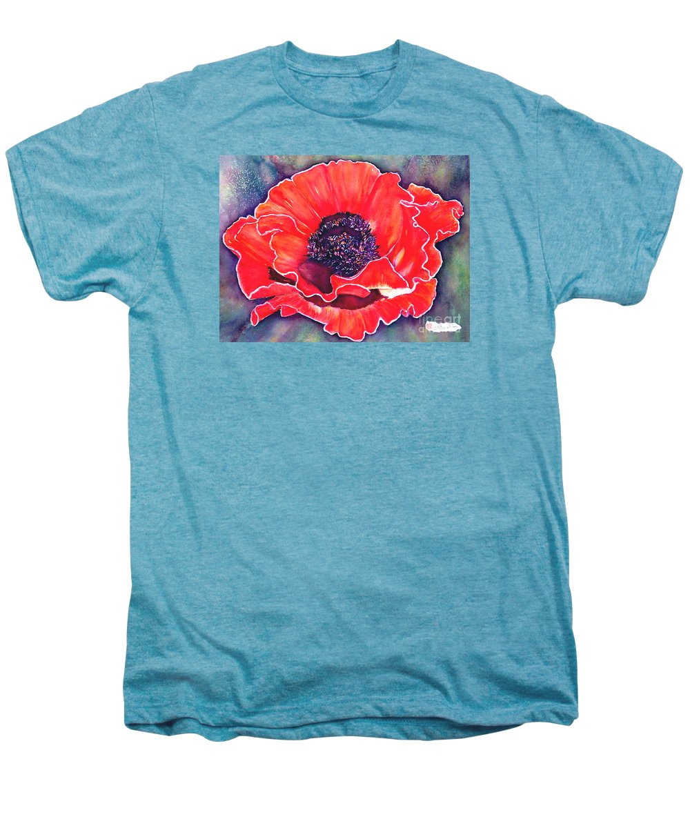 Red Flowers Men's Premium T-Shirt featuring the painting Red Poppy by Norma Boeckler