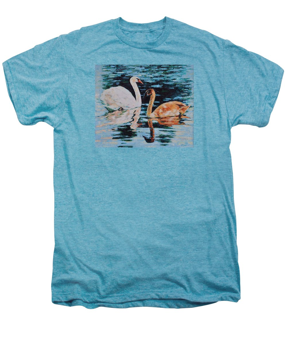 Blue Men's Premium T-Shirt featuring the painting Reflections by Iliyan Bozhanov