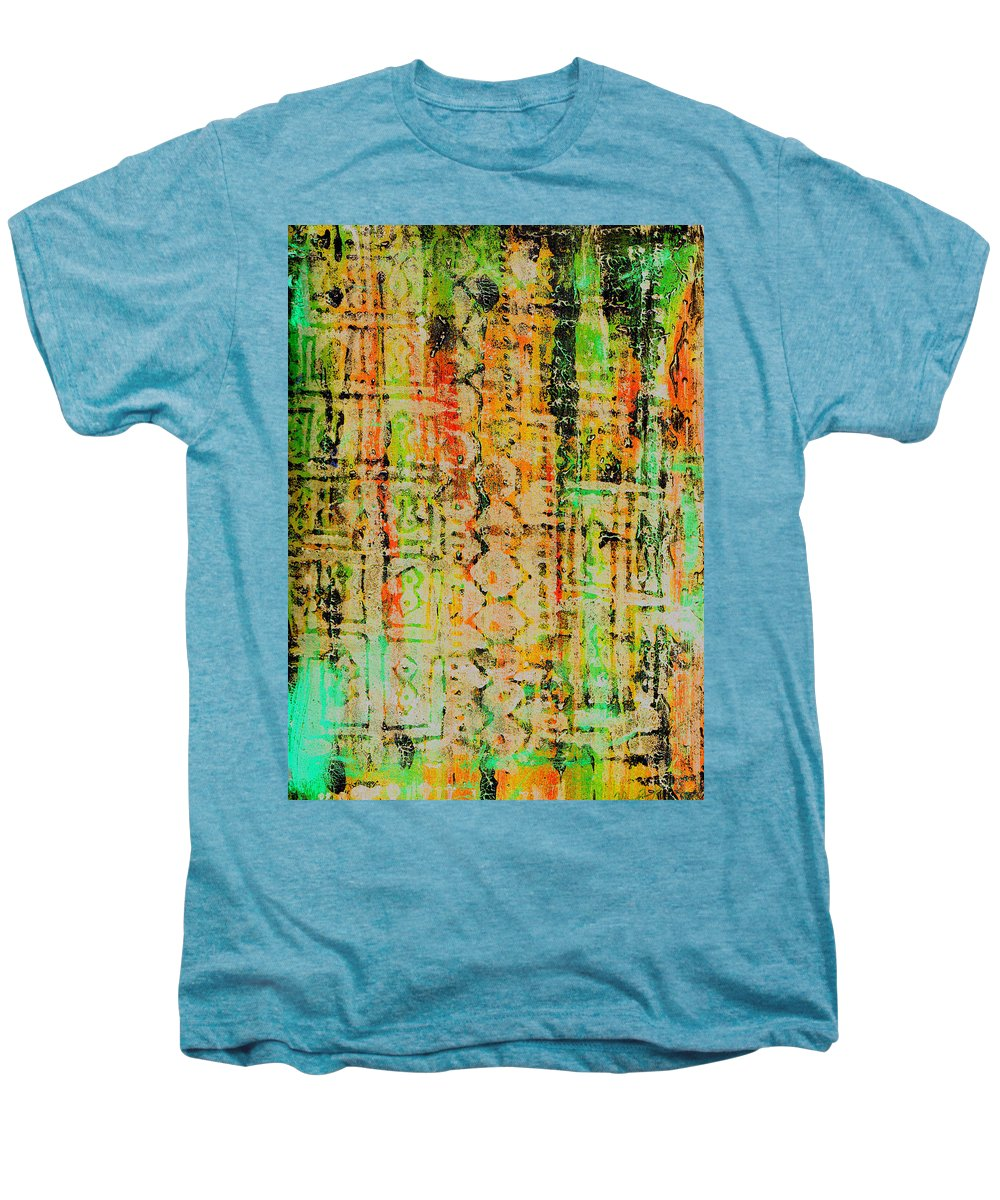 Monoprint Men's Premium T-Shirt featuring the painting Remnants Of The Homeland by Wayne Potrafka