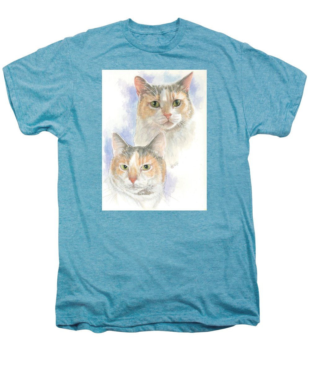 Domestic Cat Men's Premium T-Shirt featuring the mixed media Reno by Barbara Keith
