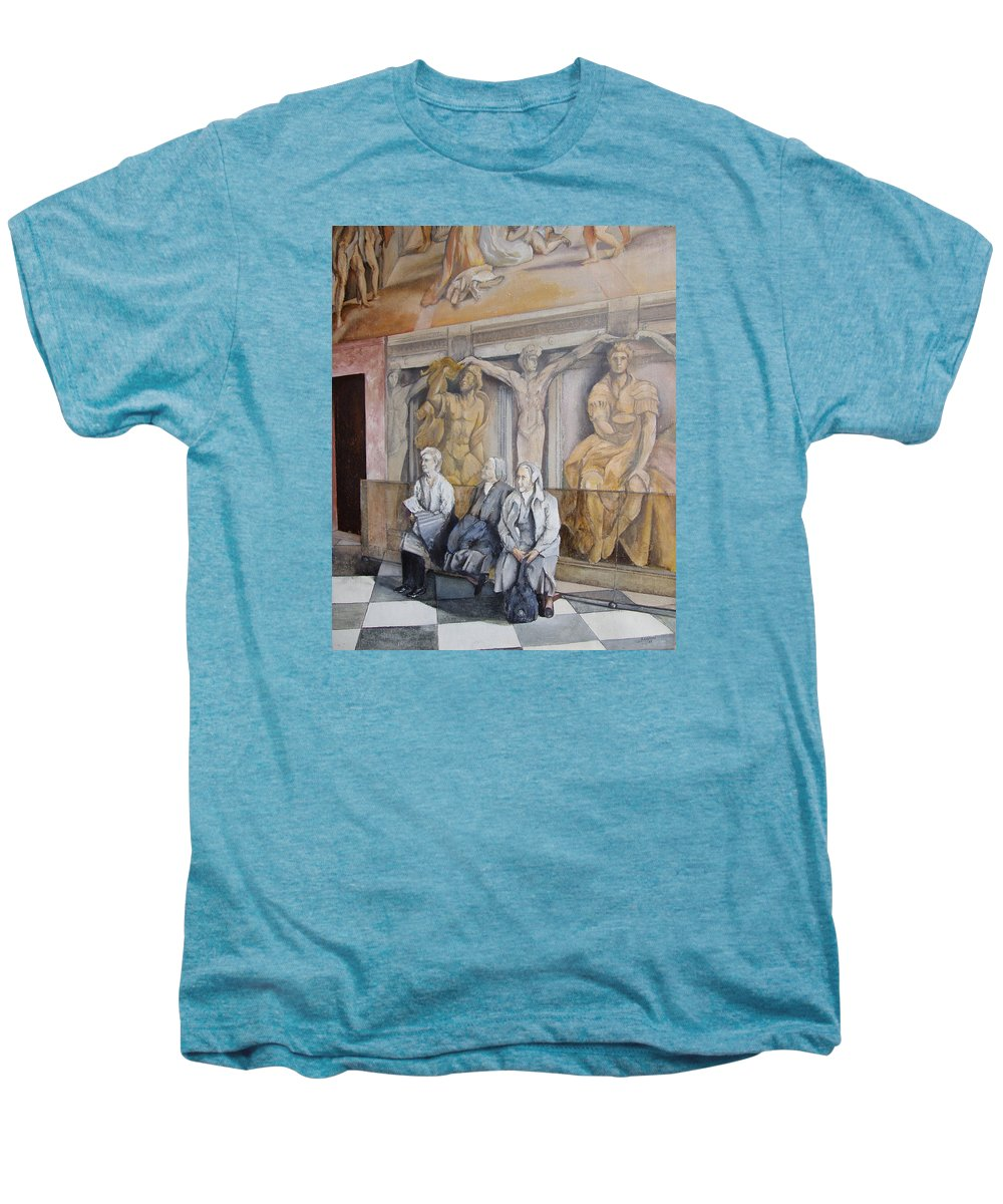 Vaticano Men's Premium T-Shirt featuring the painting Reposo En El Vaticano by Tomas Castano
