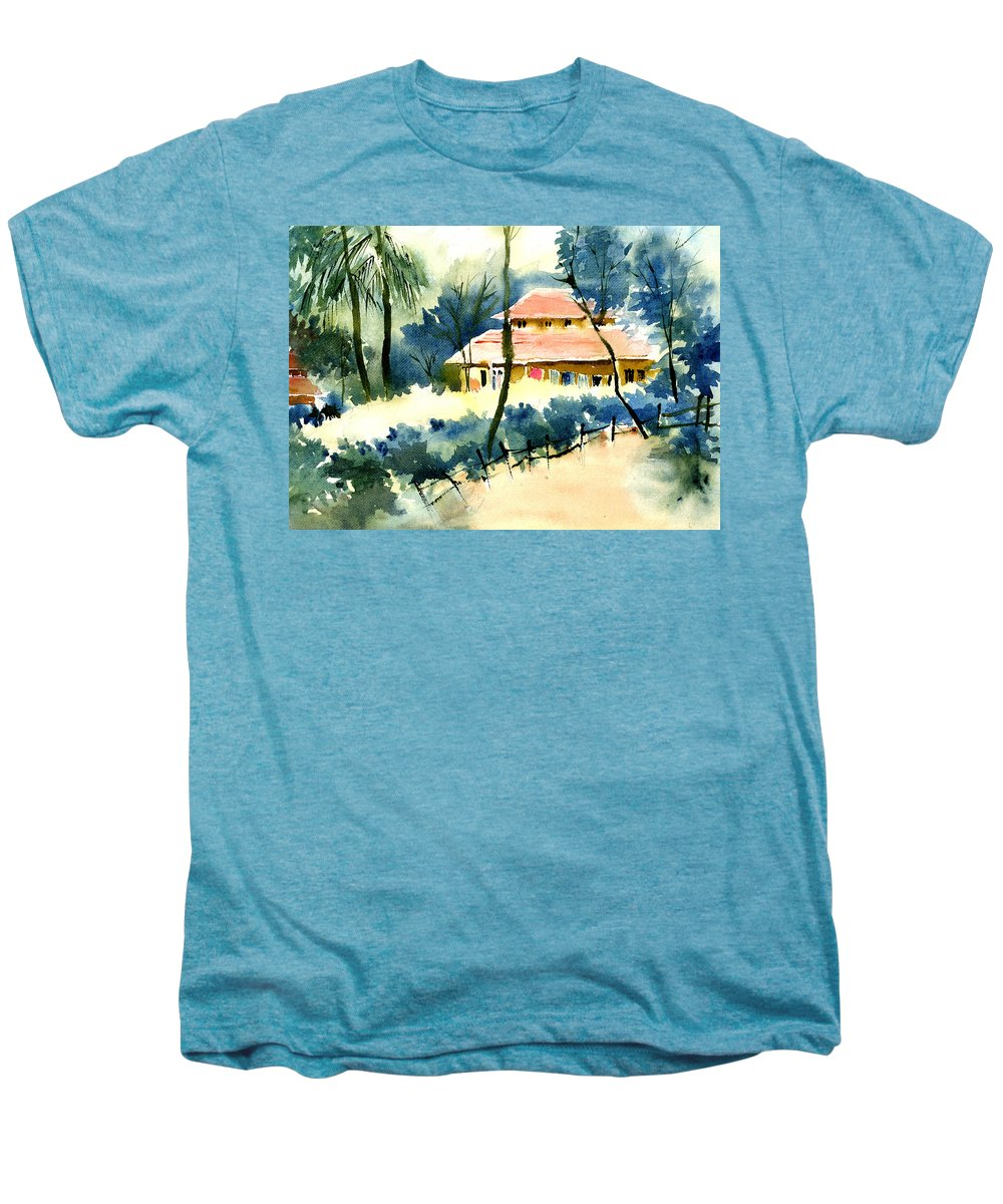 Landscape Men's Premium T-Shirt featuring the painting Rest House by Anil Nene