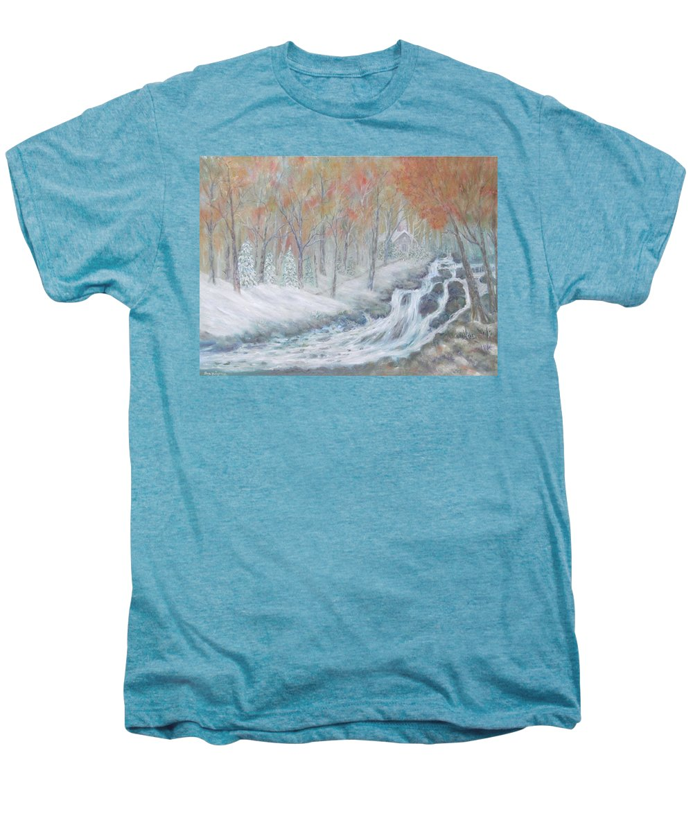 Snow; Landscape; Church Men's Premium T-Shirt featuring the painting Reverence by Ben Kiger