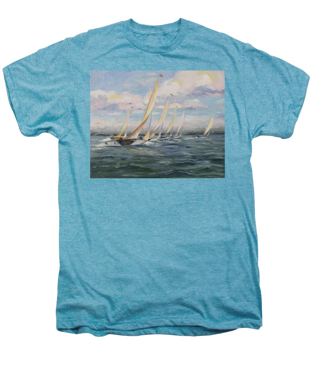 Riding Waves Men's Premium T-Shirt featuring the painting Riding The Waves by Jay Johnson
