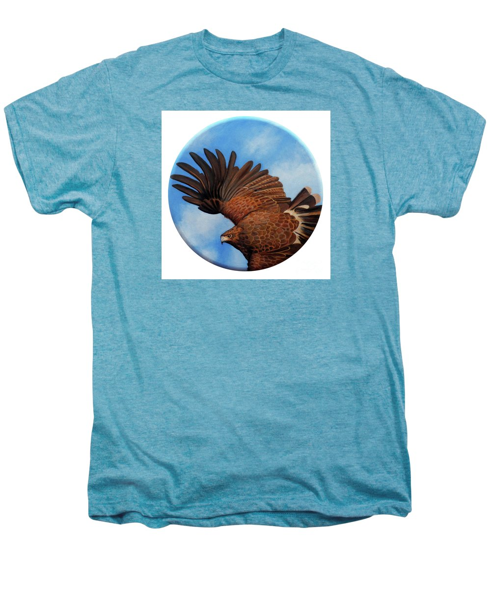 Hawk Men's Premium T-Shirt featuring the painting Riding The Wind by Brian Commerford