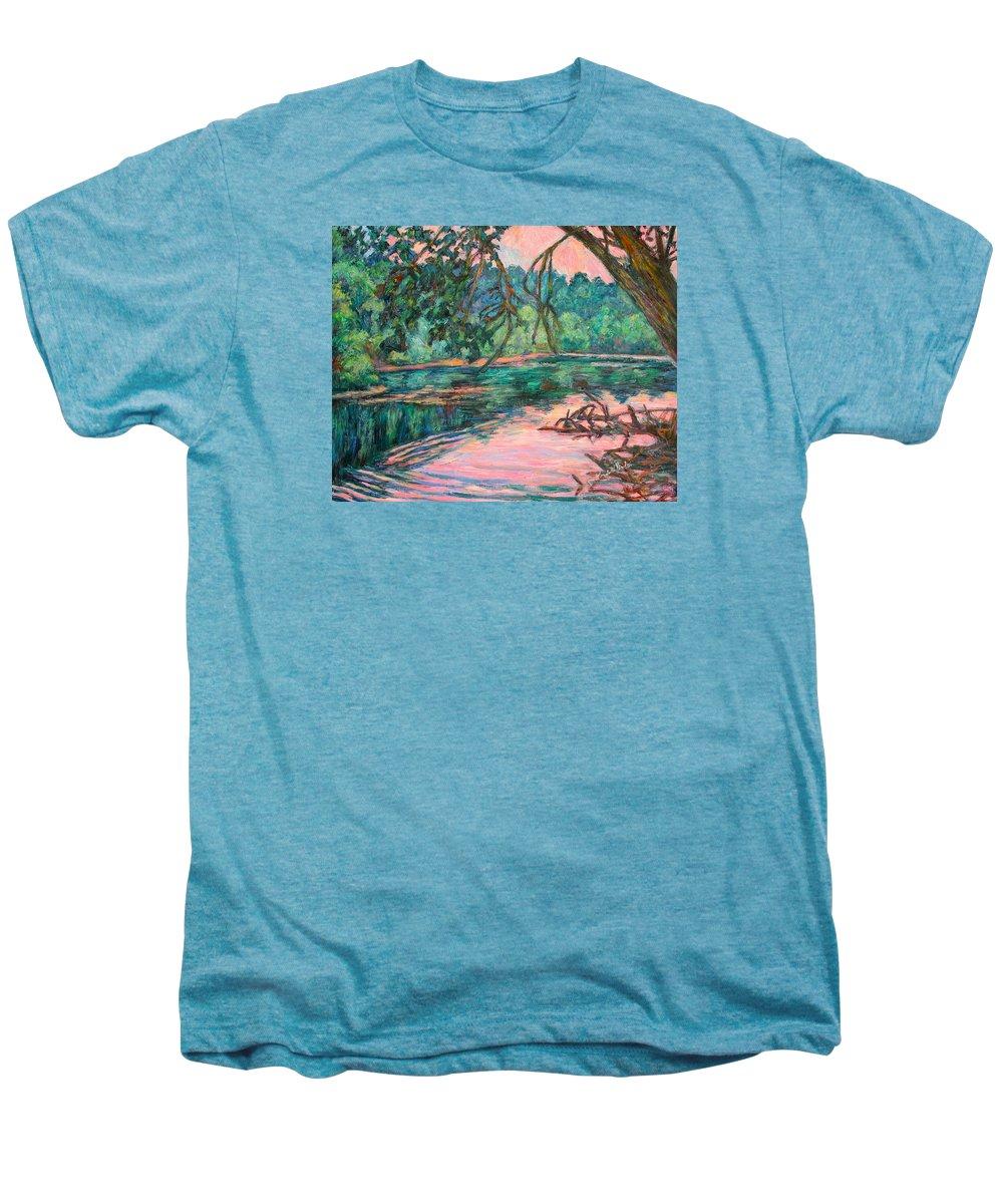 Riverview Park Men's Premium T-Shirt featuring the painting Riverview At Dusk by Kendall Kessler