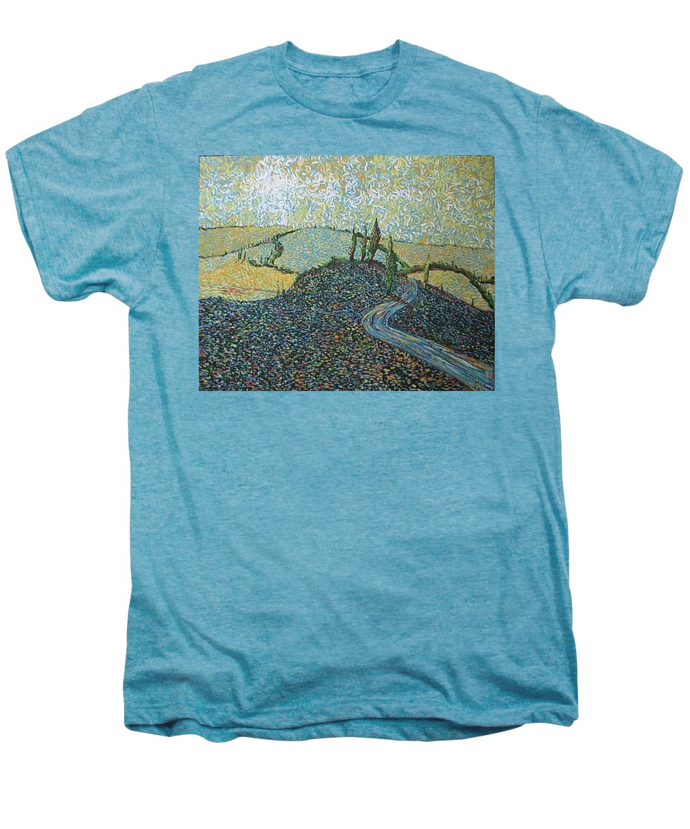 Landscape Men's Premium T-Shirt featuring the painting Road To Tuscany by Stefan Duncan