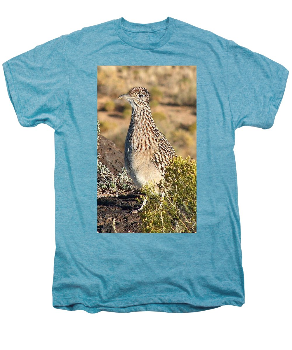 Roadrunner Men's Premium T-Shirt featuring the photograph Roadrunnner At The Petroglyphs by Tim McCarthy