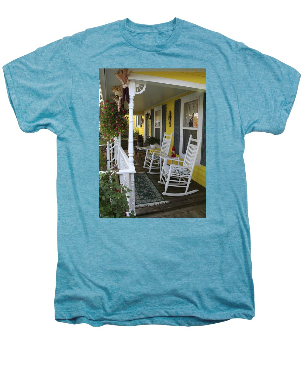 Rocking Chair Men's Premium T-Shirt featuring the photograph Rockers On The Porch by Margie Wildblood