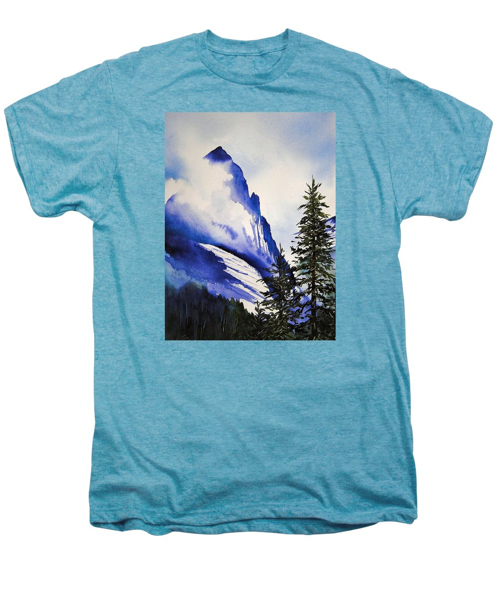 Rocky Mountains Men's Premium T-Shirt featuring the painting Rocky Mountain High by Karen Stark