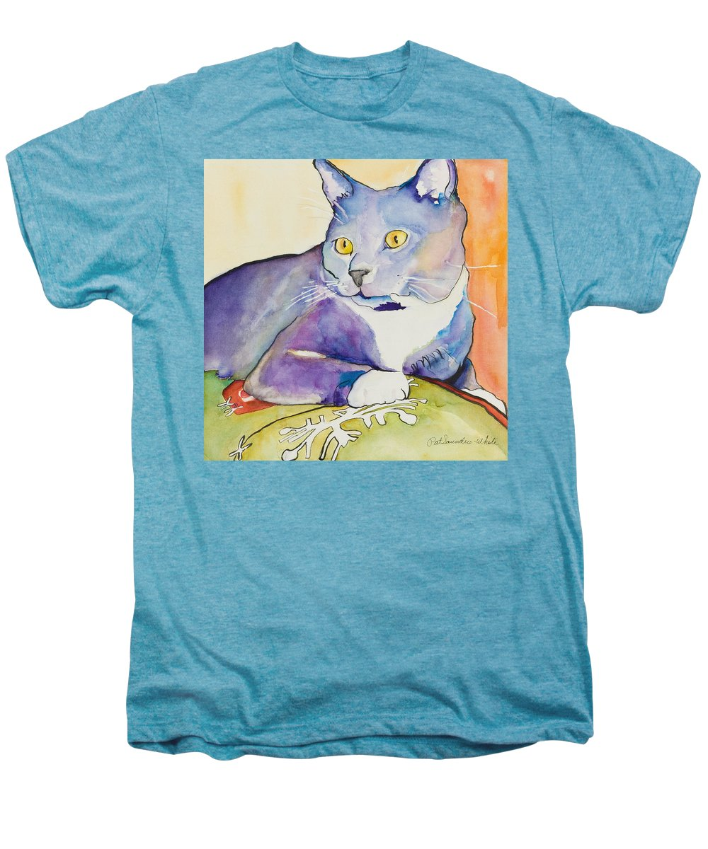 Pat Saunders-white Men's Premium T-Shirt featuring the painting Rocky by Pat Saunders-White