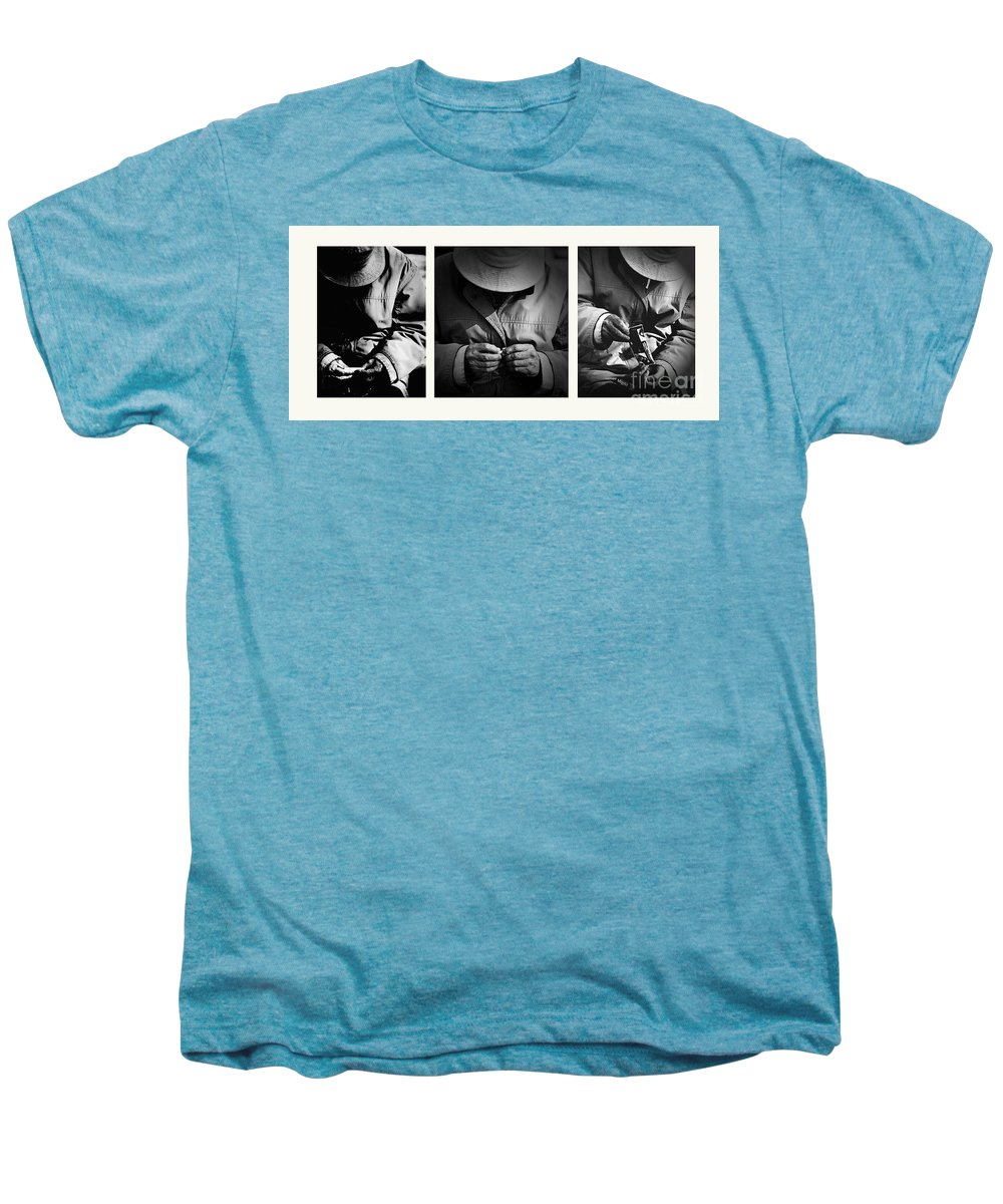Rollup Rolling Cigarette Smoker Smoking Man Hat Monochrome Men's Premium T-Shirt featuring the photograph Rolling His Own by Sheila Smart Fine Art Photography